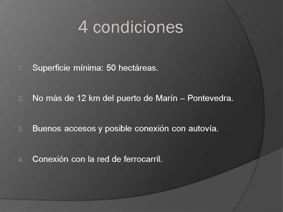 4 condiciones 1. Superficie mínima: 50 hectáreas. 2. No más de 12 km del puerto de Marín – Pontevedra. 3. Buenos accesos y posible conexión con autoví