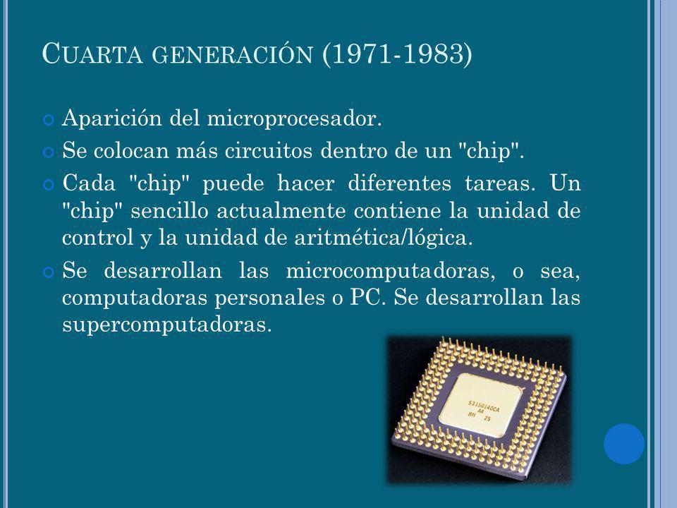 C UARTA GENERACIÓN (1971-1983) Aparición del microprocesador. Se colocan más circuitos dentro de un