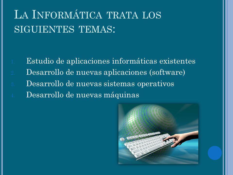L A I NFORMÁTICA TRATA LOS SIGUIENTES TEMAS : 1. Estudio de aplicaciones informáticas existentes 2. Desarrollo de nuevas aplicaciones (software) 3. De