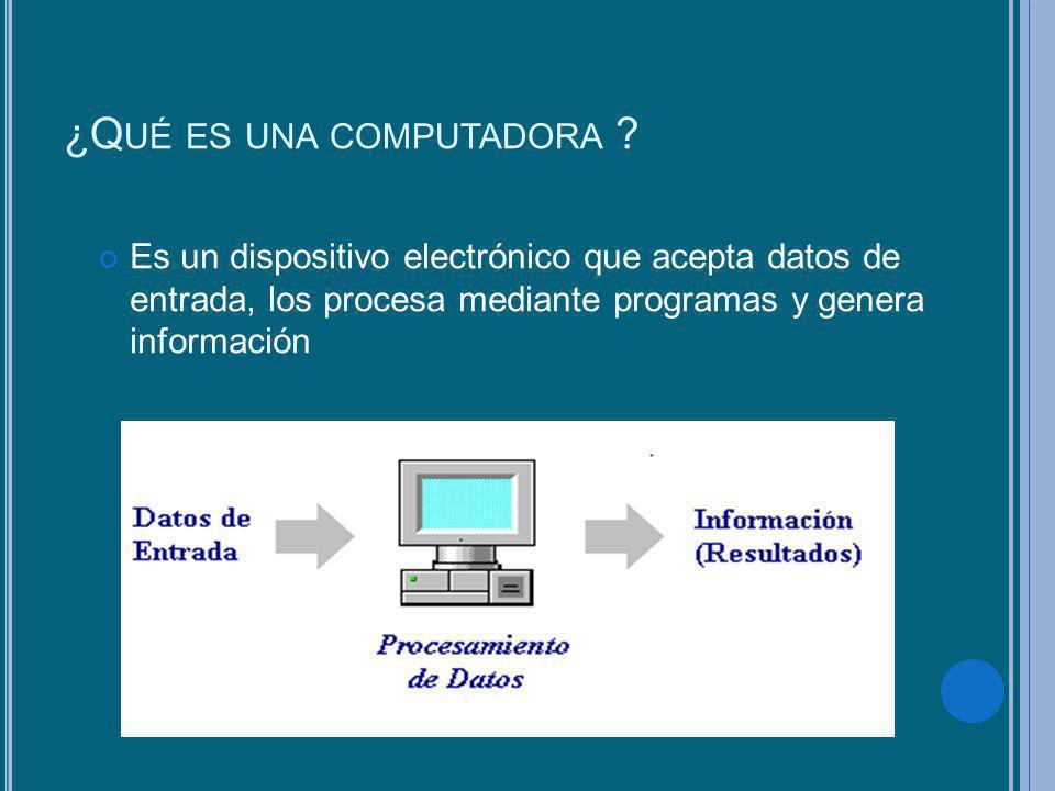 ¿Q UÉ ES UNA COMPUTADORA ? Es un dispositivo electrónico que acepta datos de entrada, los procesa mediante programas y genera información