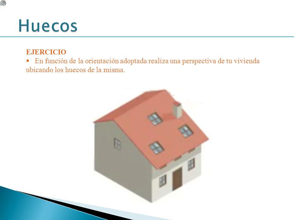EJERCICIO En función de la orientación adoptada realiza una perspectiva de tu vivienda ubicando los huecos de la misma.