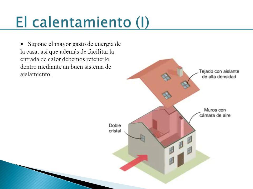 Supone el mayor gasto de energía de la casa, así que además de facilitar la entrada de calor debemos retenerlo dentro mediante un buen sistema de aisl
