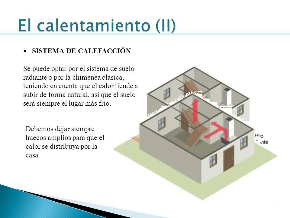 SISTEMA DE CALEFACCIÓN Se puede optar por el sistema de suelo radiante o por la chimenea clásica, teniendo en cuenta que el calor tiende a subir de fo