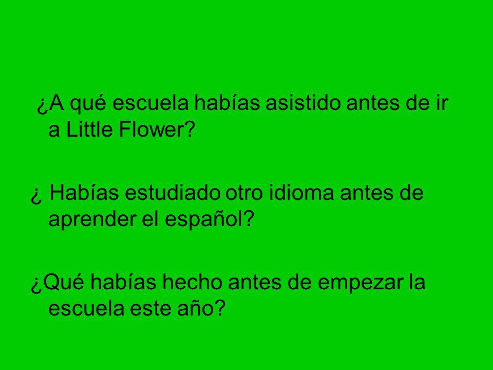 ¿A qué escuela habías asistido antes de ir a Little Flower.