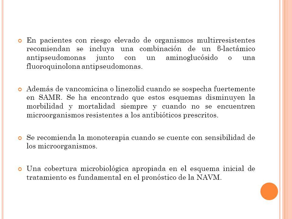 En pacientes con riesgo elevado de organismos multirresistentes recomiendan se incluya una combinación de un β-lactámico antipseudomonas junto con un