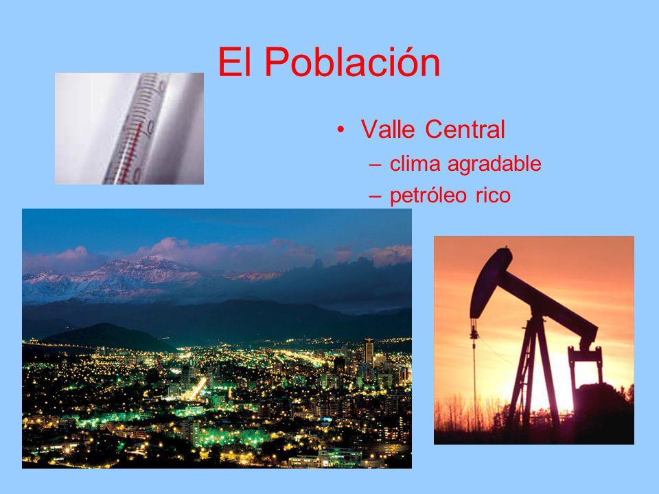 El Población Valle Central –clima agradable –petróleo rico