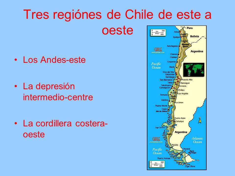 Tres regiónes de Chile de este a oeste Los Andes-este La depresión intermedio-centre La cordillera costera- oeste