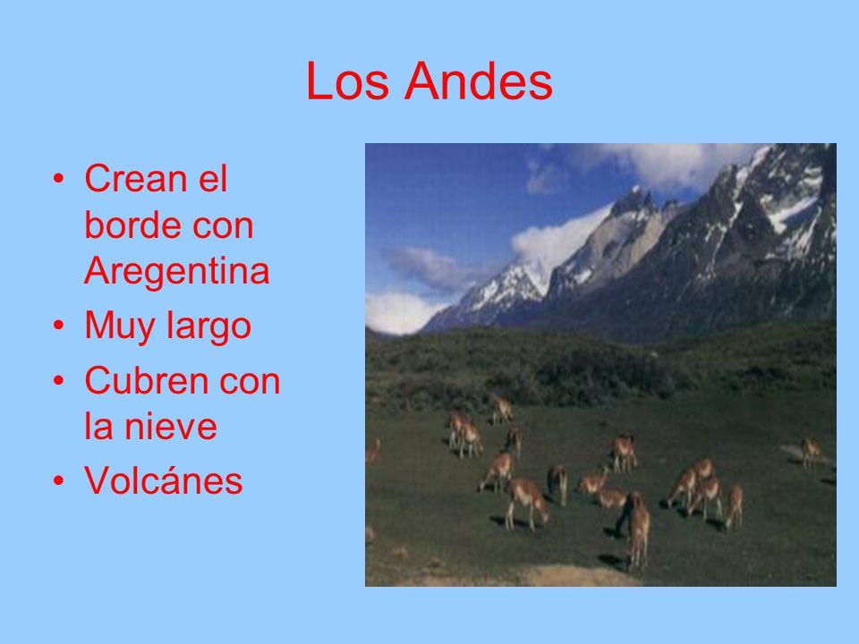 Los Andes Crean el borde con Aregentina Muy largo Cubren con la nieve Volcánes