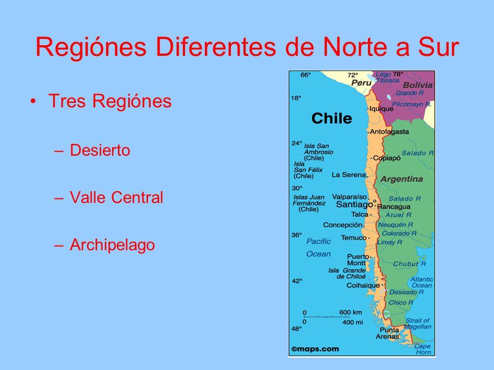 Regiónes Diferentes de Norte a Sur Tres Regiónes –Desierto –Valle Central –Archipelago
