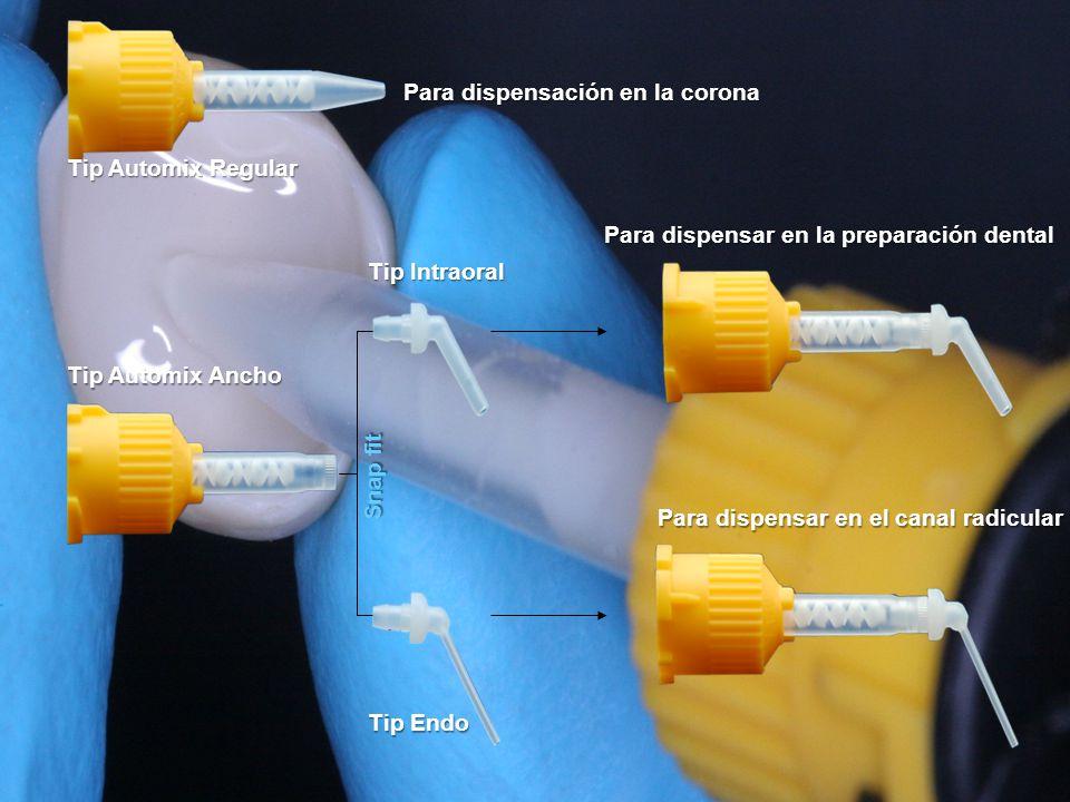 Tip Automix Ancho Tip Automix Regular Snap fit Tip Intraoral Tip Endo Para dispensación en la corona Para dispensar en la preparación dental Para dispensar en el canal radicular