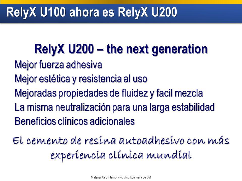 RelyX U100 ahora es RelyX U200 RelyX U100 ahora es RelyX U200 Material Uso Interno - No distribuir fuera de 3M RelyX U200 – the next generation Mejor fuerza adhesiva Mejor estética y resistencia al uso Mejoradas propiedades de fluidez y facil mezcla La misma neutralización para una larga estabilidad Beneficios clínicos adicionales El cemento de resina autoadhesivo con más experiencia clínica mundial