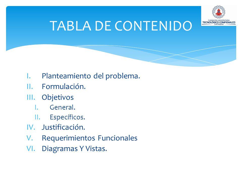 I.Planteamiento del problema. II.Formulación. III.Objetivos I.General. II.Específicos. IV.Justificación. V.Requerimientos Funcionales VI.Diagramas Y V