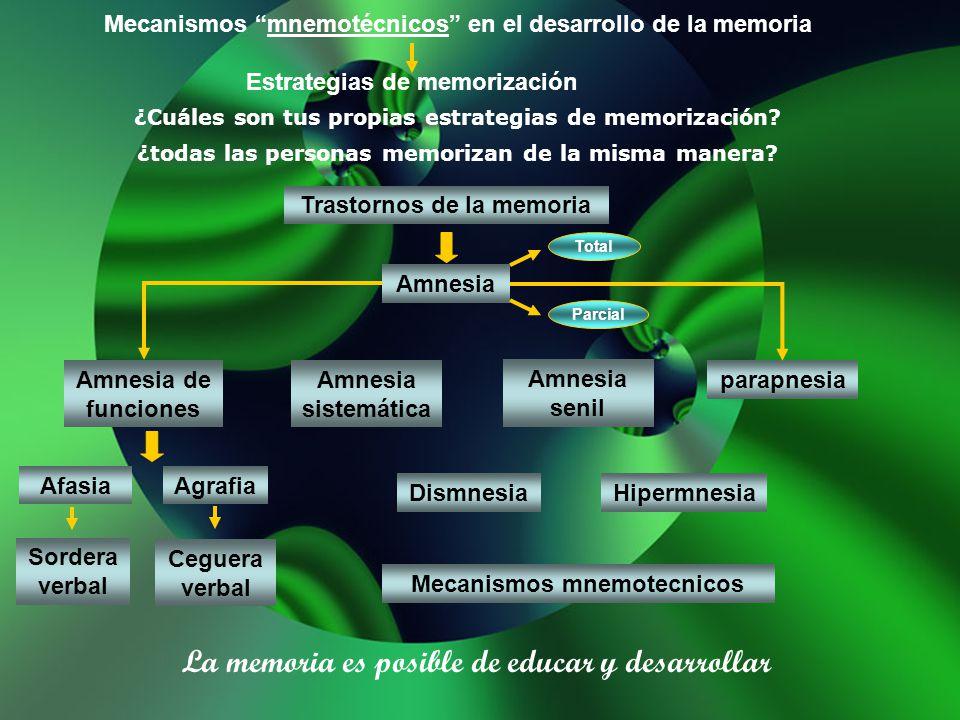 Mecanismos mnemotécnicos en el desarrollo de la memoria Estrategias de memorización ¿Cuáles son tus propias estrategias de memorización? ¿todas las pe