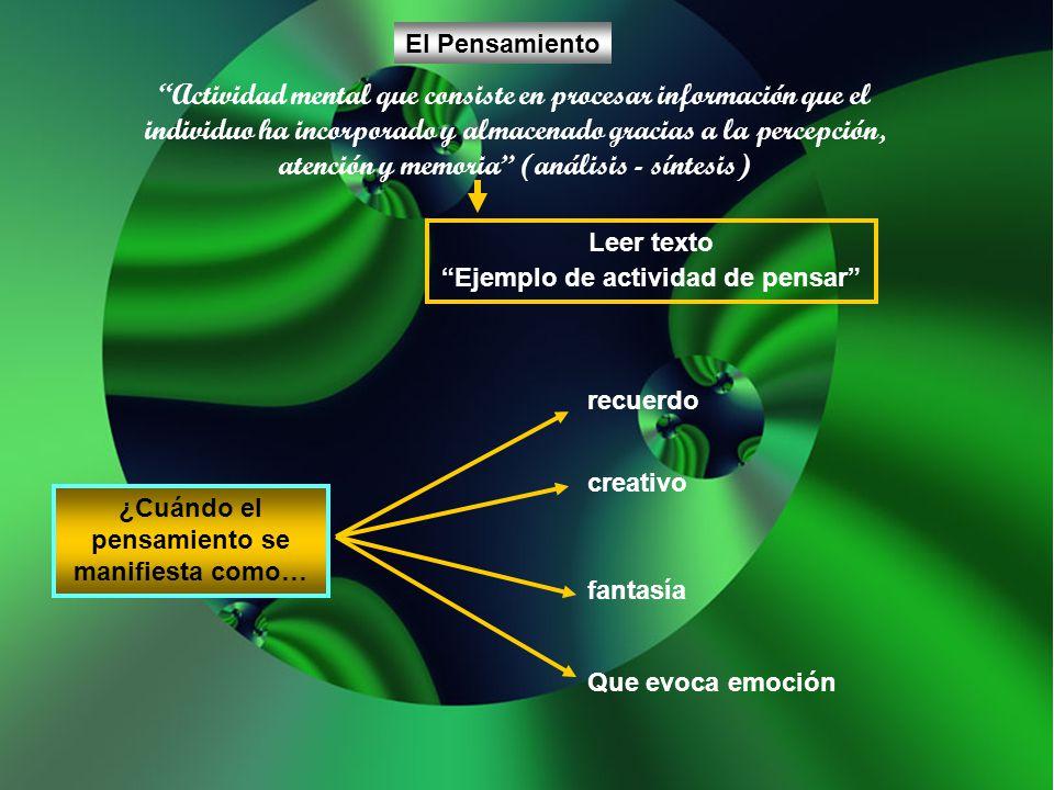 Actividad mental que consiste en procesar información que el individuo ha incorporado y almacenado gracias a la percepción, atención y memoria (anális