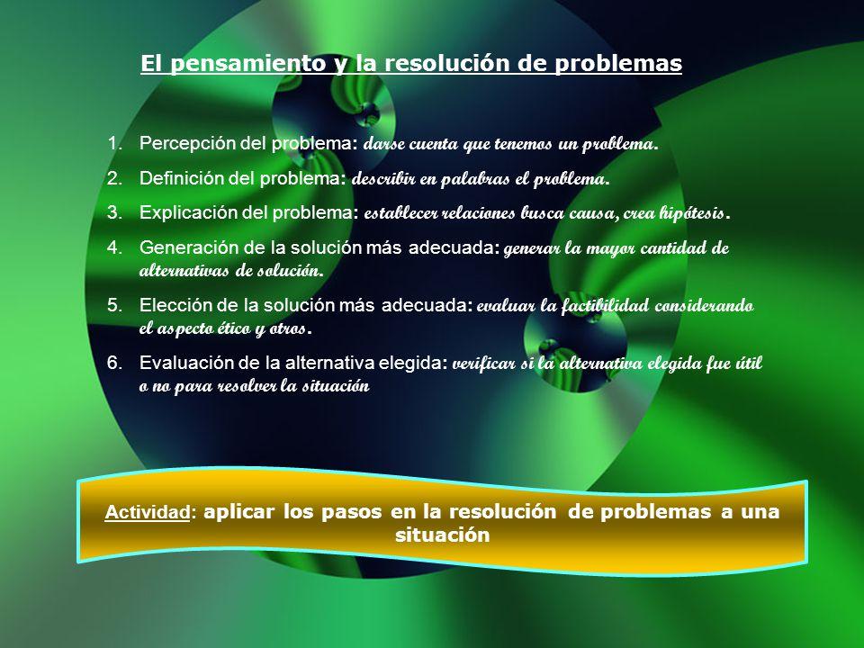 El pensamiento y la resolución de problemas 1.Percepción del problema: darse cuenta que tenemos un problema. 2.Definición del problema: describir en p