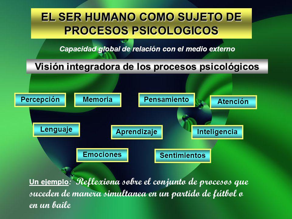 EL SER HUMANO COMO SUJETO DE PROCESOS PSICOLOGICOS Capacidad global de relación con el medio externo Visión integradora de los procesos psicológicos P