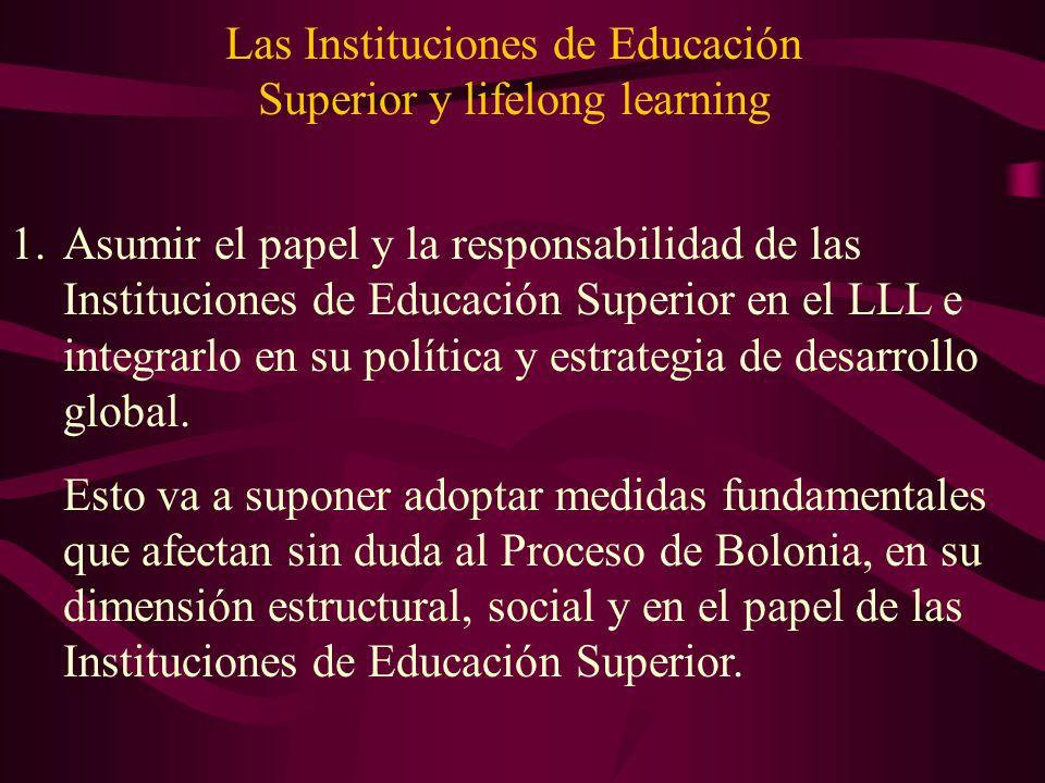 Las Instituciones de Educación Superior y lifelong learning 1.Asumir el papel y la responsabilidad de las Instituciones de Educación Superior en el LL