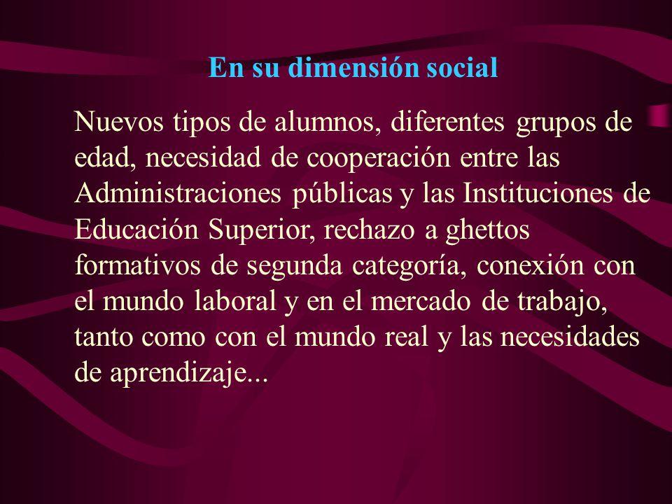 En su dimensión social Nuevos tipos de alumnos, diferentes grupos de edad, necesidad de cooperación entre las Administraciones públicas y las Instituc