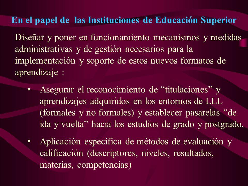 En el papel de las Instituciones de Educación Superior Diseñar y poner en funcionamiento mecanismos y medidas administrativas y de gestión necesarios