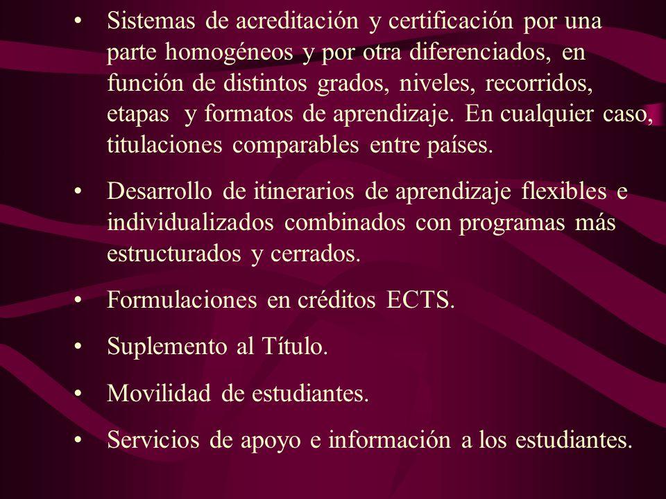 Sistemas de acreditación y certificación por una parte homogéneos y por otra diferenciados, en función de distintos grados, niveles, recorridos, etapa