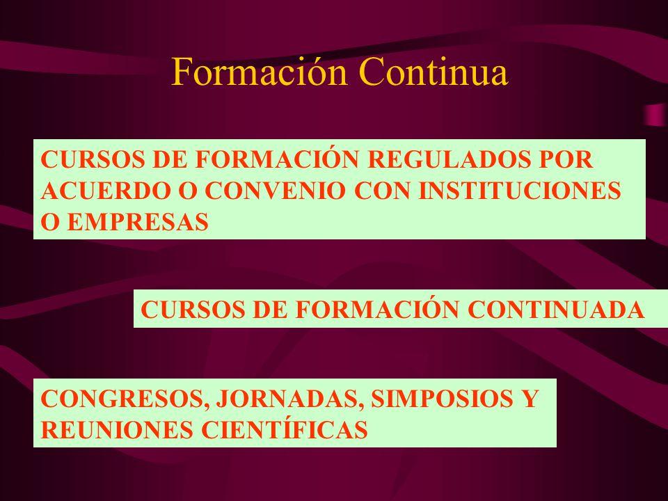 Formación Continua CURSOS DE FORMACIÓN REGULADOS POR ACUERDO O CONVENIO CON INSTITUCIONES O EMPRESAS CURSOS DE FORMACIÓN CONTINUADA CONGRESOS, JORNADA