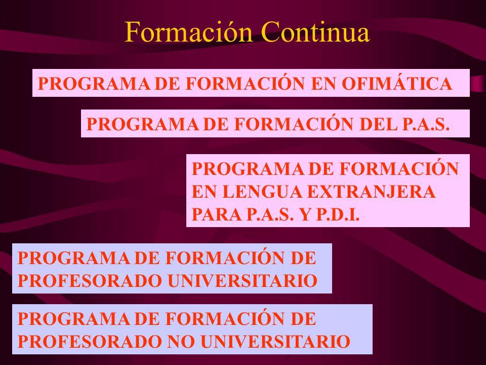 Formación Continua PROGRAMA DE FORMACIÓN EN OFIMÁTICA PROGRAMA DE FORMACIÓN DEL P.A.S. PROGRAMA DE FORMACIÓN EN LENGUA EXTRANJERA PARA P.A.S. Y P.D.I.