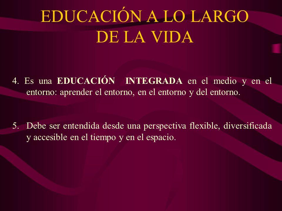 EDUCACIÓN A LO LARGO DE LA VIDA 4. Es una EDUCACIÓN INTEGRADA en el medio y en el entorno: aprender el entorno, en el entorno y del entorno. 5.Debe se