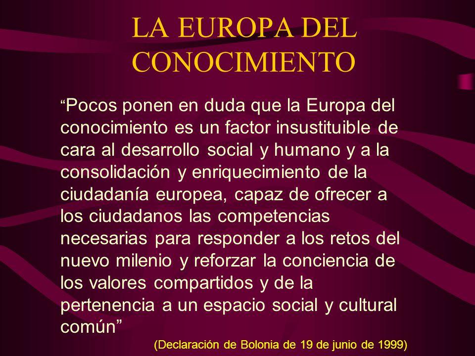 LA EUROPA DEL CONOCIMIENTO Pocos ponen en duda que la Europa del conocimiento es un factor insustituible de cara al desarrollo social y humano y a la