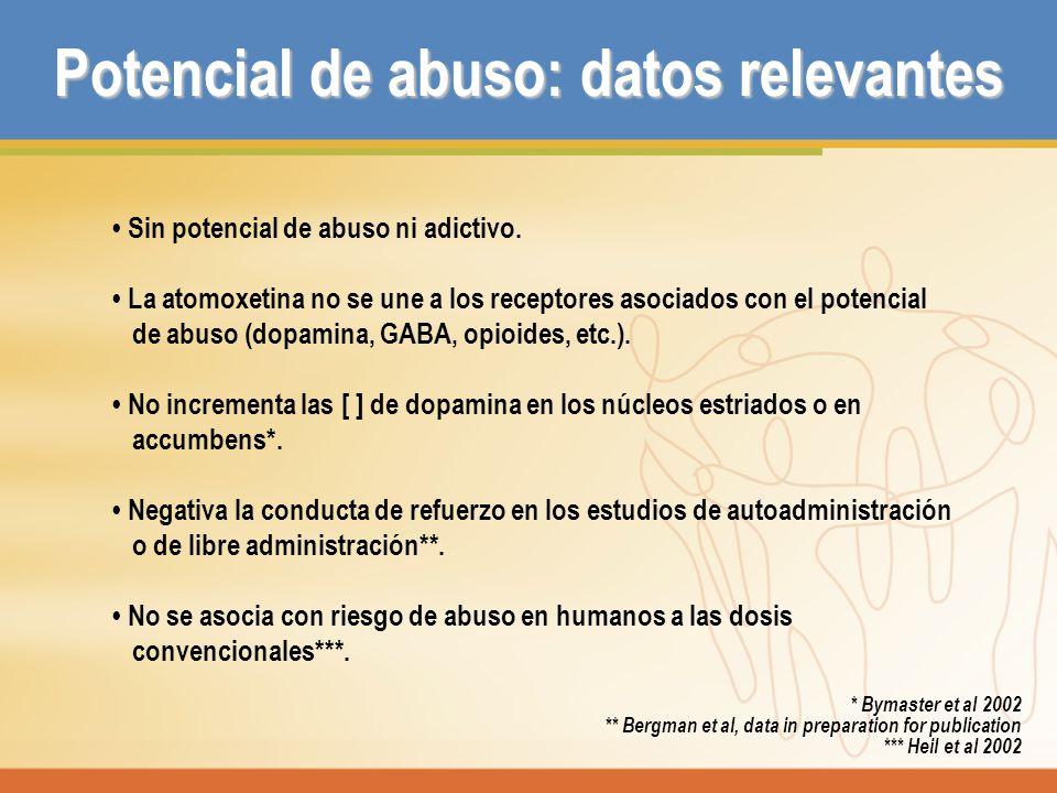 Sin potencial de abuso ni adictivo. La atomoxetina no se une a los receptores asociados con el potencial de abuso (dopamina, GABA, opioides, etc.). No