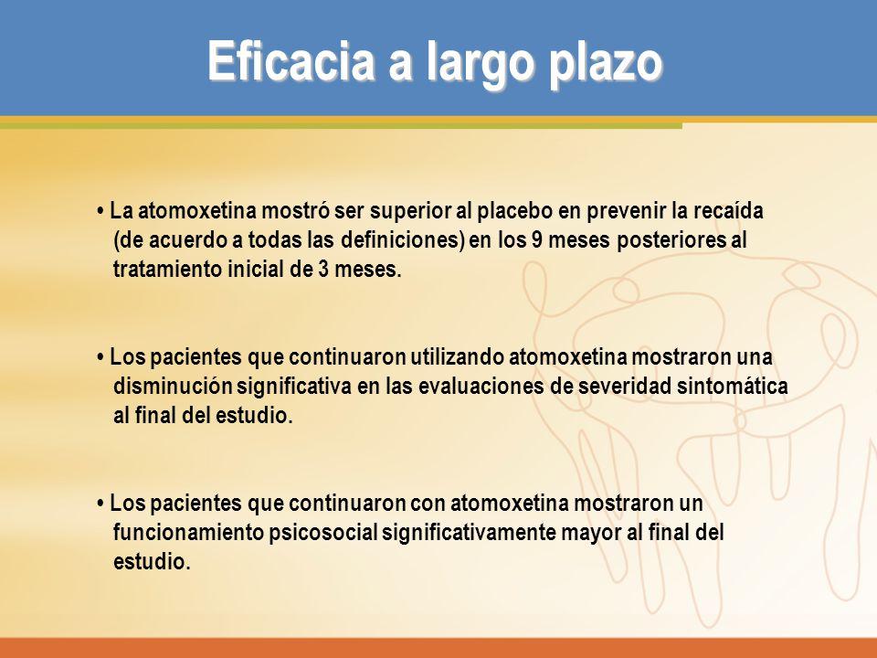 La atomoxetina mostró ser superior al placebo en prevenir la recaída (de acuerdo a todas las definiciones) en los 9 meses posteriores al tratamiento i