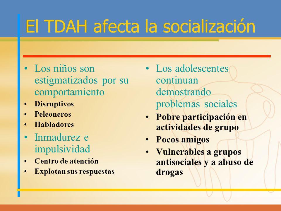 El TDAH afecta la socialización Los niños son estigmatizados por su comportamiento Disruptivos Peleoneros Habladores Inmadurez e impulsividad Centro d