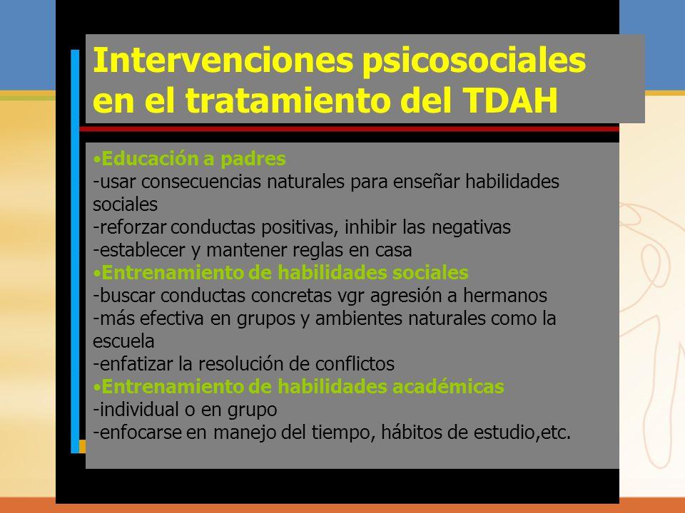 Intervenciones psicosociales en el tratamiento del TDAH Educación a padres -usar consecuencias naturales para enseñar habilidades sociales -reforzar c