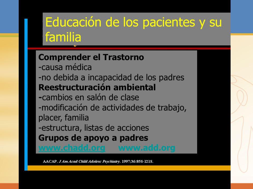 Educación de los pacientes y su familia Comprender el Trastorno -causa médica -no debida a incapacidad de los padres Reestructuración ambiental -cambi