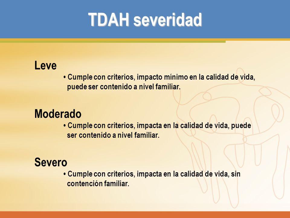 TDAH severidad Leve Cumple con criterios, impacto mínimo en la calidad de vida, puede ser contenido a nivel familiar. Moderado Cumple con criterios, i
