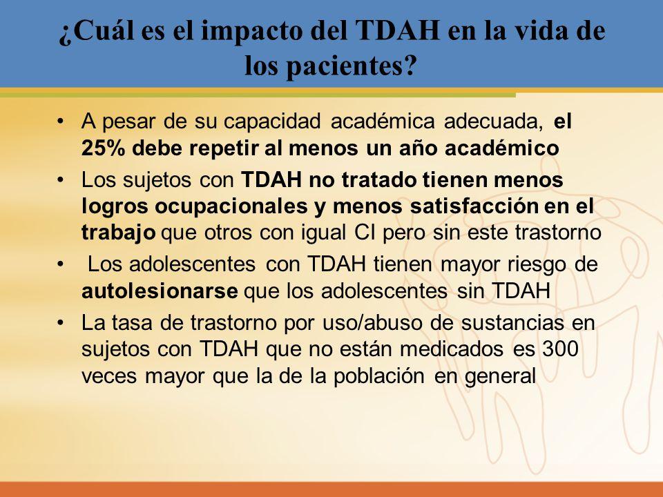 ¿Cuál es el impacto del TDAH en la vida de los pacientes? A pesar de su capacidad académica adecuada, el 25% debe repetir al menos un año académico Lo