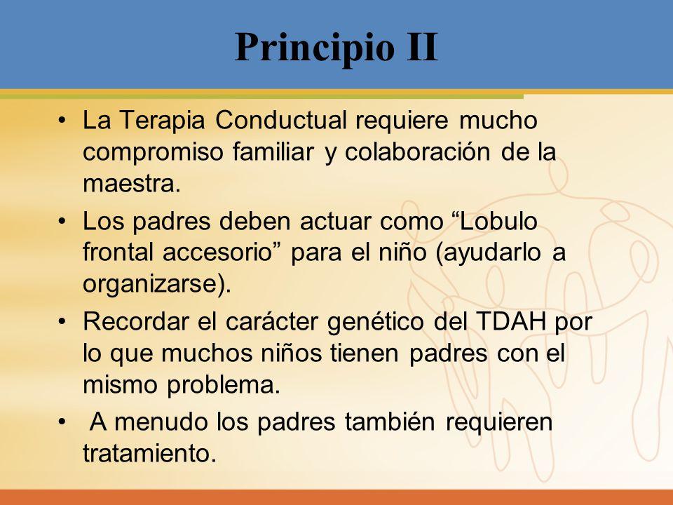 Principio II La Terapia Conductual requiere mucho compromiso familiar y colaboración de la maestra. Los padres deben actuar como Lobulo frontal acceso