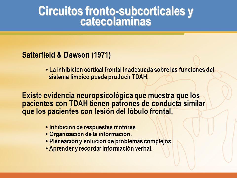 Circuitos fronto-subcorticales y catecolaminas Satterfield & Dawson (1971) La inhibición cortical frontal inadecuada sobre las funciones del sistema l