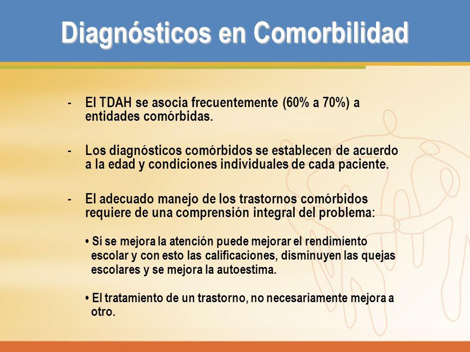 Diagnósticos en Comorbilidad - El TDAH se asocia frecuentemente (60% a 70%) a entidades comórbidas. - Los diagnósticos comórbidos se establecen de acu