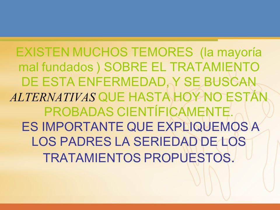 EXISTEN MUCHOS TEMORES (la mayoría mal fundados ) SOBRE EL TRATAMIENTO DE ESTA ENFERMEDAD, Y SE BUSCAN ALTERNATIVAS QUE HASTA HOY NO ESTÁN PROBADAS CI