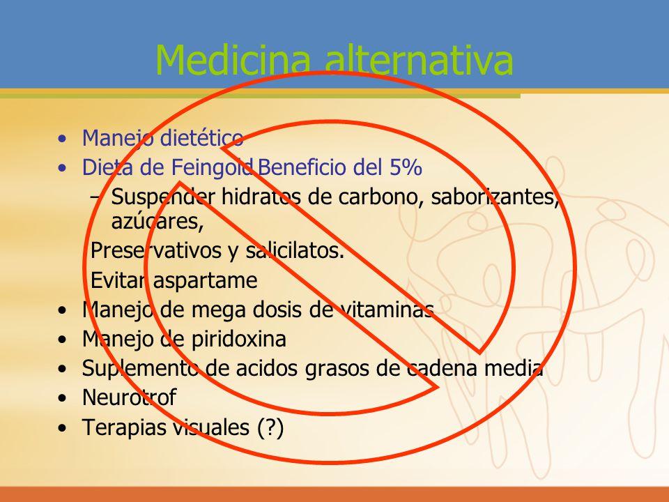 Medicina alternativa Manejo dietético Dieta de FeingoldBeneficio del 5% –Suspender hidratos de carbono, saborizantes, azúcares, Preservativos y salici