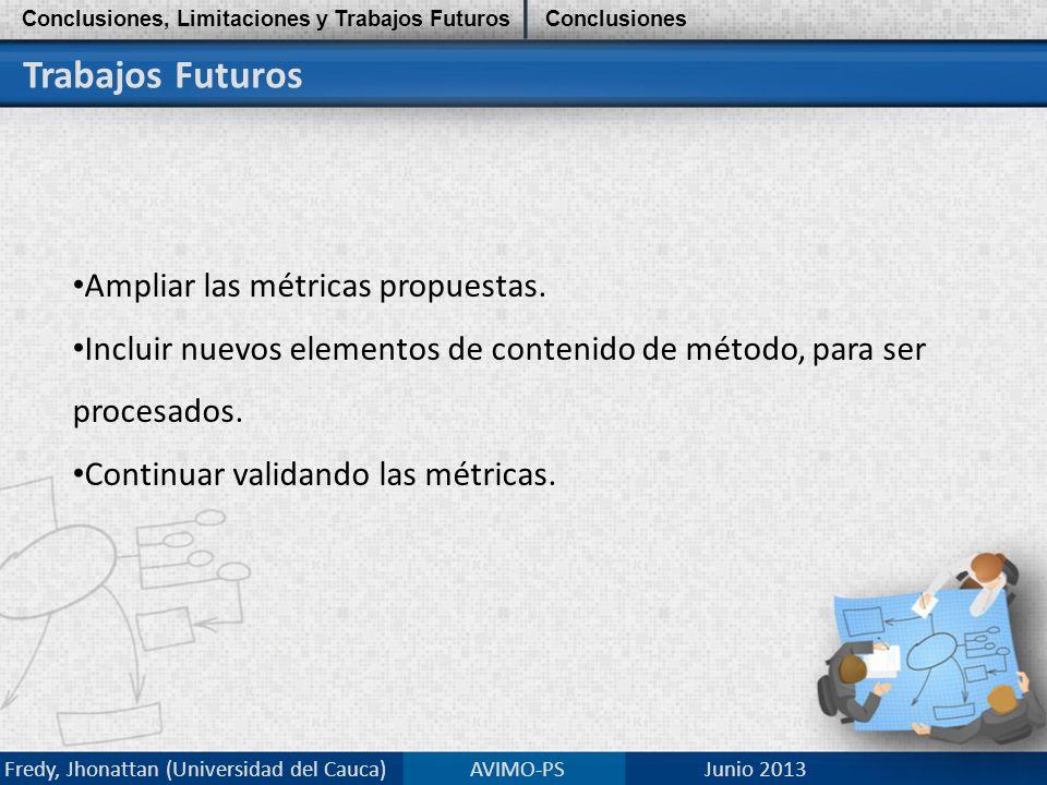 Trabajos Futuros Ampliar las métricas propuestas.