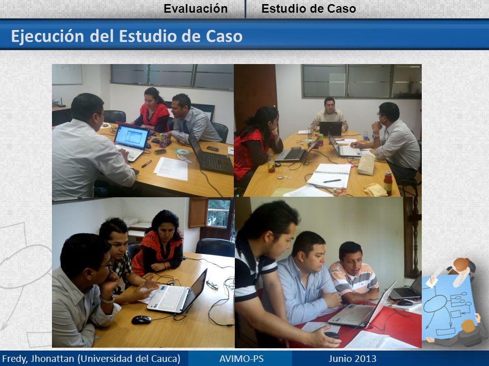 Ejecución del Estudio de Caso EvaluaciónEstudio de Caso Fredy, Jhonattan (Universidad del Cauca) AVIMO-PS Junio 2013