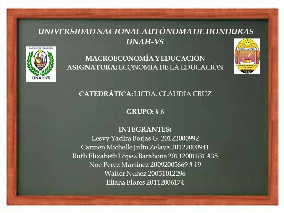 UNIVERSIDAD NACIONAL AUTÓNOMA DE HONDURAS UNAH-VS MACROECONOMÍA Y EDUCACIÓN ASIGNATURA: ECONOMÍA DE LA EDUCACIÓN CATEDRÁTICA: LICDA. CLAUDIA CRUZ GRUP