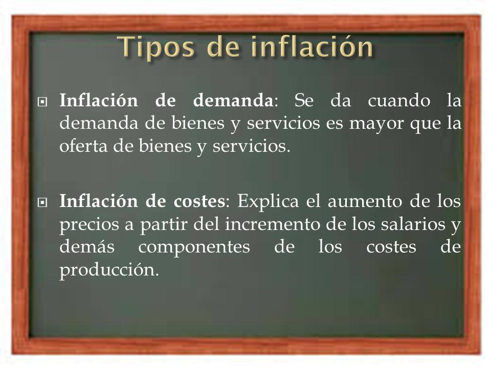 Inflación de demanda : Se da cuando la demanda de bienes y servicios es mayor que la oferta de bienes y servicios. Inflación de costes : Explica el au