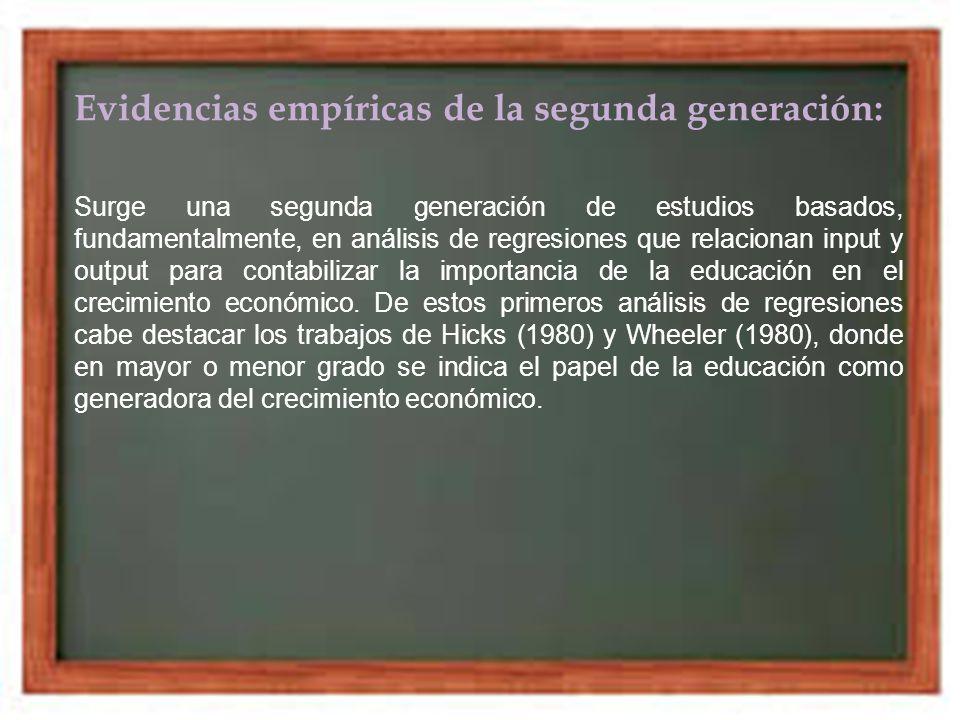 Evidencias empíricas de la segunda generación: Surge una segunda generación de estudios basados, fundamentalmente, en análisis de regresiones que rela
