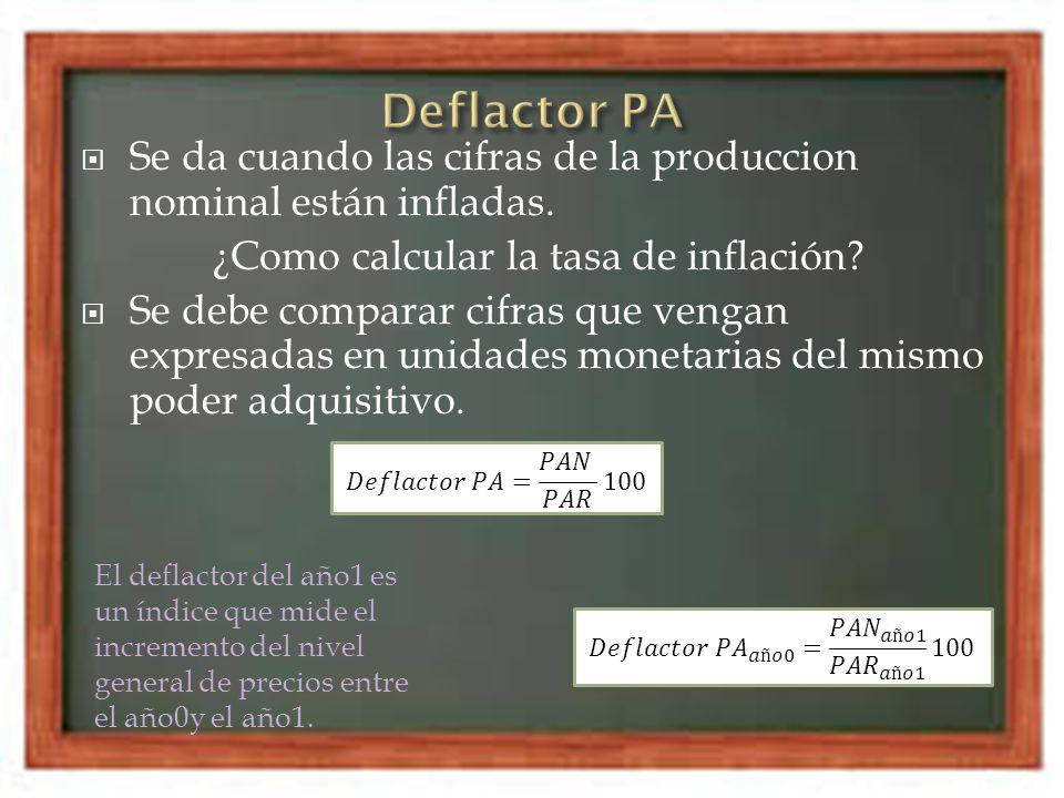 Se da cuando las cifras de la produccion nominal están infladas. ¿Como calcular la tasa de inflación? Se debe comparar cifras que vengan expresadas en