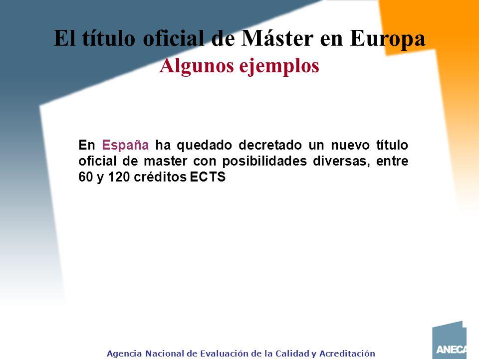 Agencia Nacional de Evaluación de la Calidad y Acreditación El título oficial de Máster en Europa Algunos ejemplos En España ha quedado decretado un nuevo título oficial de master con posibilidades diversas, entre 60 y 120 créditos ECTS