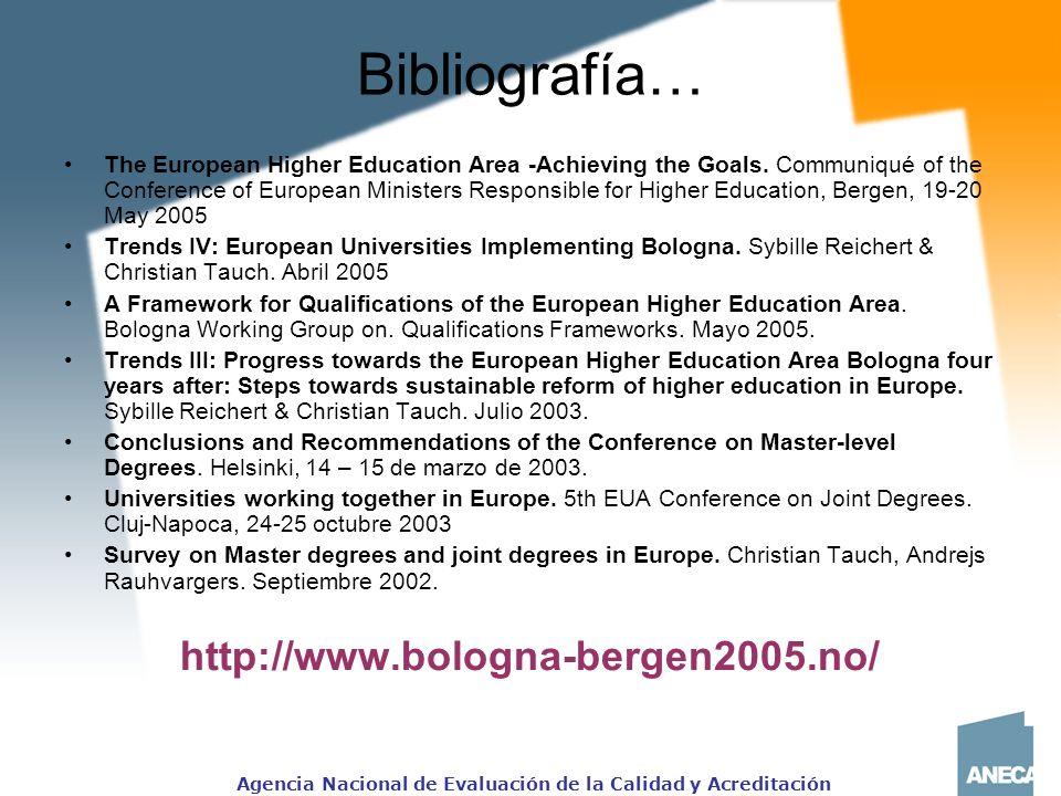 Agencia Nacional de Evaluación de la Calidad y Acreditación Bibliografía… The European Higher Education Area -Achieving the Goals.