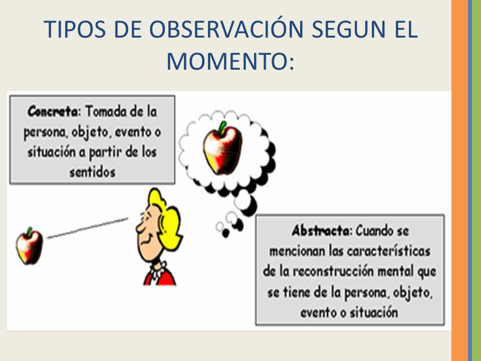 TIPOS DE OBSERVACIÓN SEGUN EL MOMENTO: