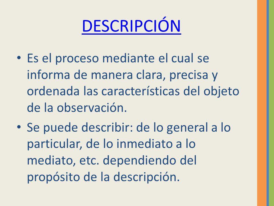 DESCRIPCIÓN Es el proceso mediante el cual se informa de manera clara, precisa y ordenada las características del objeto de la observación. Se puede d